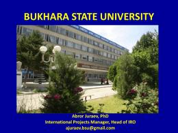 BUKHARA STATE UNIVERSITY - Universidade de Santiago …