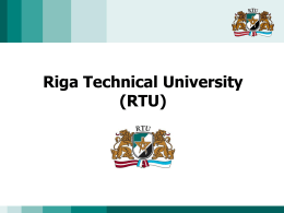 Riga Technical University Faculty of Architecture and