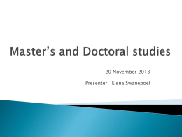 Master's and doctoral information session