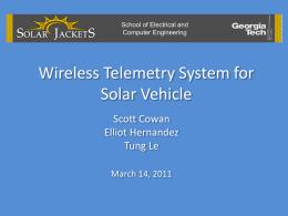 Solar Jackets: Wireless Telemetry Senior Design Group