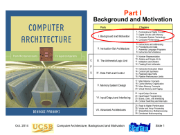 Computer Architecture, Part 1 - University of California