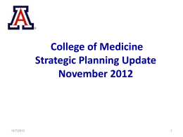 University of Arizona Healthcare Strategic Planning