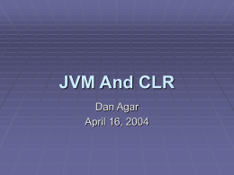 JVM And CLR - Union College