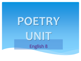 POETRY UNIT 2004 - South Eastern School District