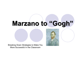 Marzano Strategies To Go! - Missouri Schoolwide Positive