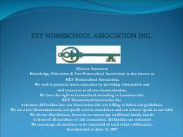 KEY HOMESCHOOL ASSOCIATION INC.
