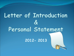 Sample Letter & Personal Statement