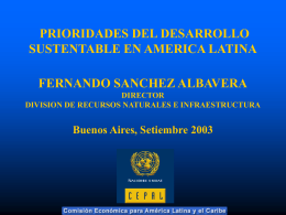 Prioridades del desarrollo sustentable en America Latina