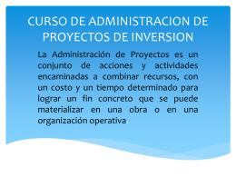 CURSO DE ADMINISTRACION DE PROYECTOS DE …
