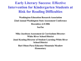 3.5 Early Literacy Success: Effective Intervention for
