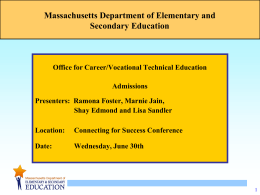 Massachusetts Department of Elementary and …