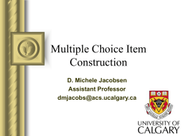 Test Construction - Home | University of Calgary