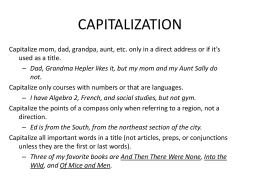 CAPITALIZATION - Central Bucks School District