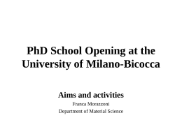 PhD School of the University of Milano Bicocca