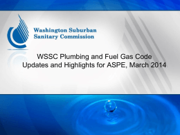 WSSC Plumbing and Fuel Gas CodeUpdates and …
