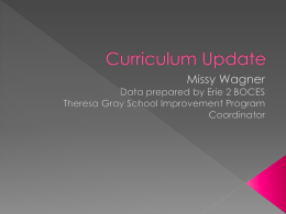 Curriculum Update - Holland Central School Dist