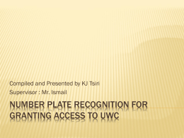 Number plate recognition - University of the Western Cape