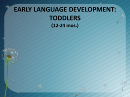EARLY LANGUAGE DEVELOPMENT: TODDLERS
