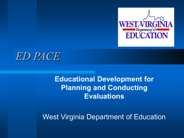 Project Overview - West Virginia Department of Education