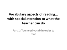 Vocabulary aspects of reading... with special attention to