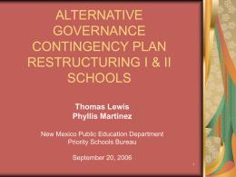 CA, R I, & R II SCHOOLS - Public Education Department