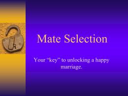 Mate Selection - Utah Education Network