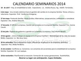 CALENDARIO SEMINARIOS 2014