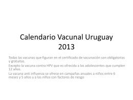 Calendario Vacunal Uruguay 2013