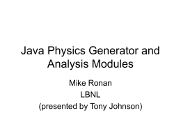 Java Physics Generator and Analysis Modules