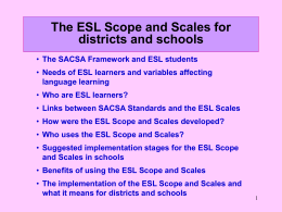 ESL Scope and Scales Presentation