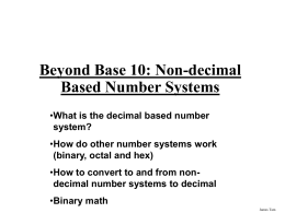 Non-decimal based number systems