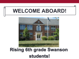 WELCOME TO SWANSON! - Arlington Public Schools