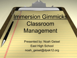 Immersion Gimmicks Classroom Management