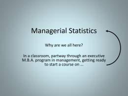 Statistics - Kellogg School of Management
