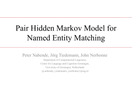 pair Hidden Markov Model for Named Entity Matching