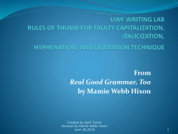 UWF WRITING LAB RULES OF THUMB FOR FAULTY …