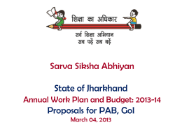 Sarv Siksha Abhiyan State of Jharkhand Annual Work Plan