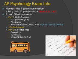 AP Psychology Exam Info