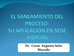 SANEAMIENTO PROCESAL