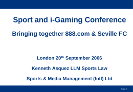 Sports & I Gaming Conference