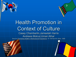 Health Promotion in Context of Culture