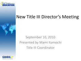 New Title III Director's Meeting