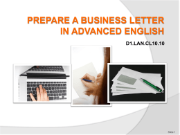 PREPARE A BUSINESS LETTER IN ADVANCED ENGLISH