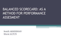 BALANCED SCORECARD: AS A METHOD FOR …