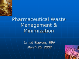 Managing Pharmaceutical Waste Stanford Hospital & …