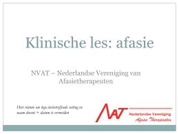 Afasie en logopedie Klinische les - NVAT