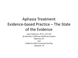 Aphasia Treatment Evidence-based Practice – The State of