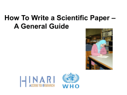 Authorship Skills How to Write a Scientific Paper [ppt …
