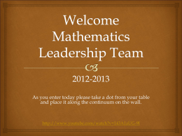 Mathematics Leadership Team