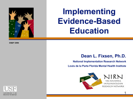 Implementing Evidence-Based Programs in Systems of …